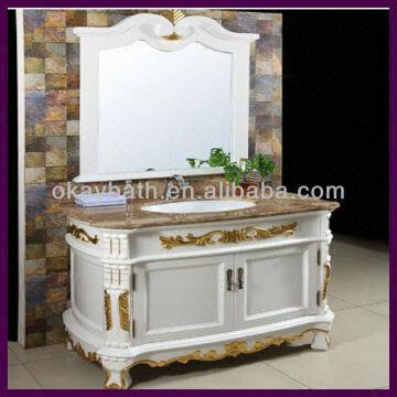 China European Style Clic White Antique Bathroom Vanity Plated Gold Foil