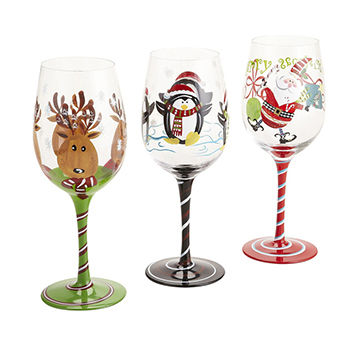 China Promotional Merry Christmas Gift Hand Painted Wine