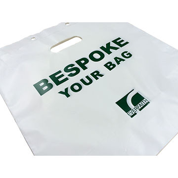 China HDPE die cut handle bag with block headed bespoke acceptable
