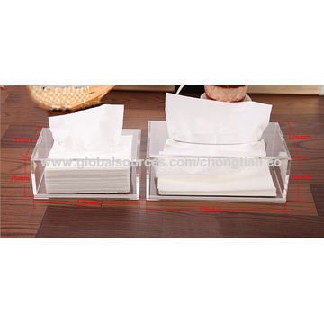 China Clear Acrylic Bathroom/Tissue Box Cover and Napkin Dispenser Holder