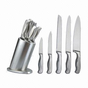 ... China 5 Piece Stainless Steel Handle SS Block Knife Set