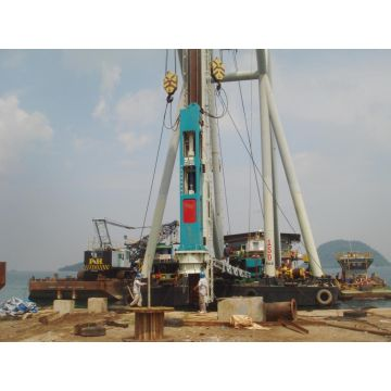 Hydraulic steel pile driver for offshore piling project