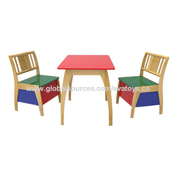 China Wholesale Cheap Colored 1 Table 2 Chairs Set Wooden