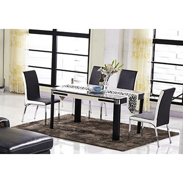 China Glass Dining Table Marble Topwood FrameModern Style