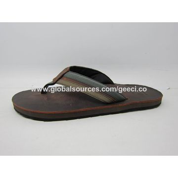China Men's leather flip flops, customized color is accepted