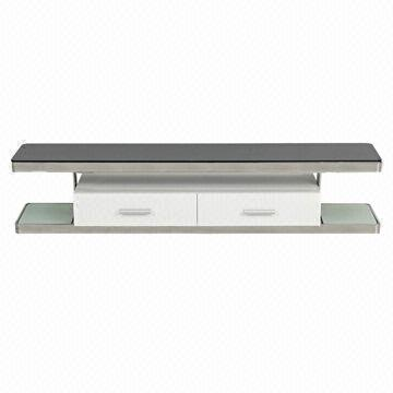 Tv Stand With 10mm Tempered Black Glass Top And White Glass Shelf