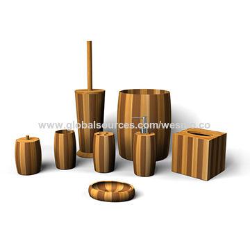 China Bamboo Bathroom Set Soap Dispenser Tumbler Tissue Holder Waste Basket