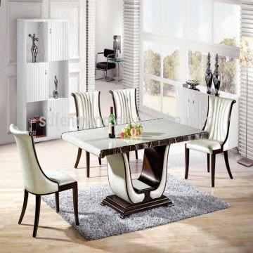 T 101 Wooden Dining Table Base Marble Stone Dining Table Top
