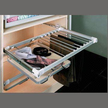 China Pull Out Closet Organizer And Trousers Hanger With Single Extension  Ball Bearing Slide