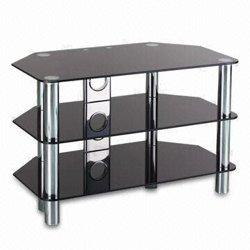 3 Tier Glass Tv Stand 80cm Width Suitable For Promotional Purposes