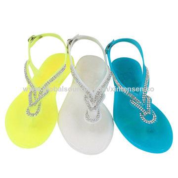 b356dd2a2ae1 China Beaded Swirl Thong Clear PVC Jelly Slingback Rhinestone Women s  Sandals ...