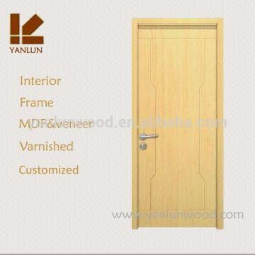 Cheap Price Flat Design Solid Pine Wood Door With Hardware Veneer