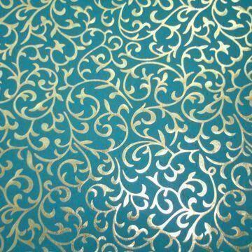 Handmade Plain Turquoise Color Paper with Gold Foil Emboss