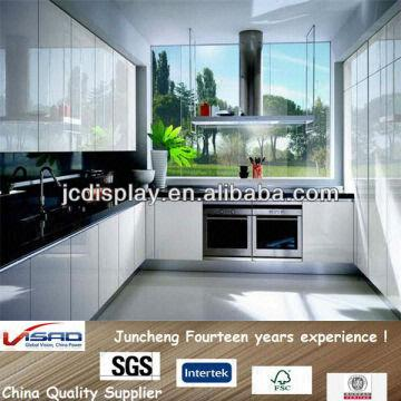 China High Gloss White Lacquer Finish Kitchen Cabinets Design For Sale Made  In China