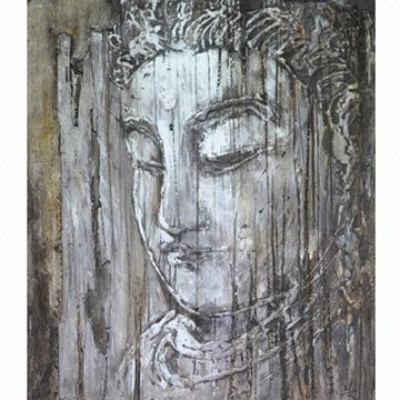 Buddha Oil Painting Mixed Media on Canvas with Heavy Texture