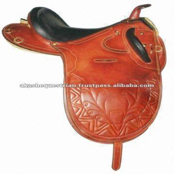 Stock Saddle with horn, seat cow softy, brass fittings
