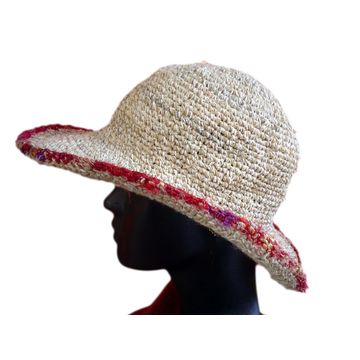 28e11e10627 Nepal Hemp and cotton string crochet wire brim sun hat