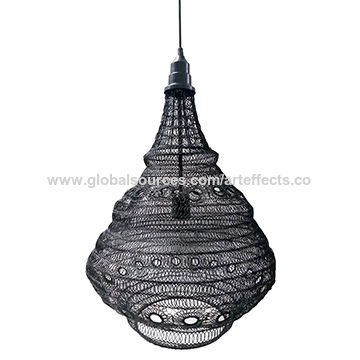 India Vintage Hanging Pendant Wired Lamp Shade W Black Powder Coated Finish For Home Decor