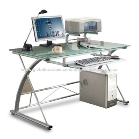 China Deluxe And Modern Tempered Glass Computer Desk With Pull Out Keyboard Shelf On Global Sources Computer Desk