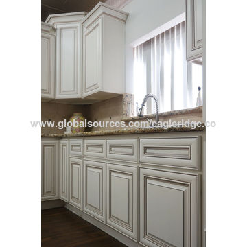 antique white kitchen cabinets, birch face front stain finished