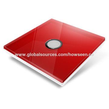 China Smart home wireless light switch, red glass panel/3 gang