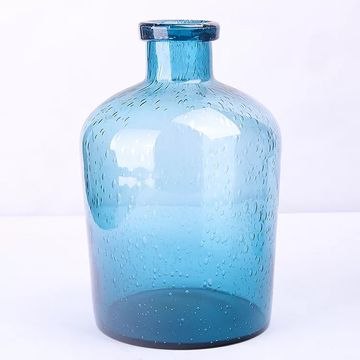 China Blue Hand Blown Bubble Glass Vase From Qingdao Wholesaler