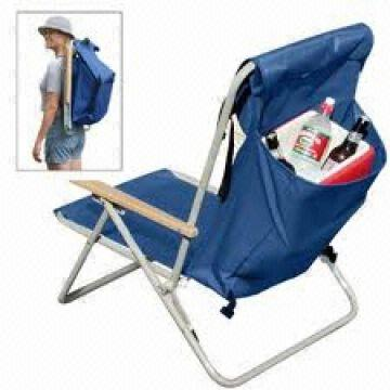 China Backpacked Folding Beach Chair With Back Bag And Padded Shoulder Straps