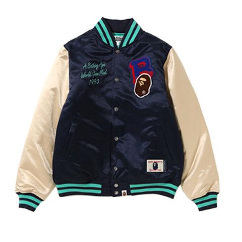 China Custom Men Color Block Casual Satin Fabric Varsity Jacket on