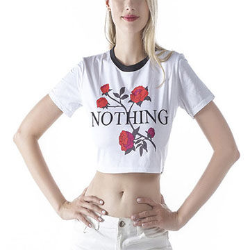 acbd7ada1204a China Printed Plain White T-shirt 100% Cotton Crop Tops Wholesale Blank T-  ...