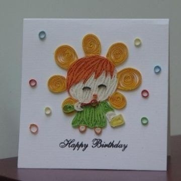 Birthday Card With Quilling Paper 100 Handmade Quaint Image