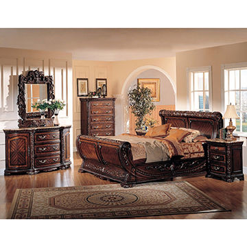 2017 antique style solid wood home king size bedroom set ...