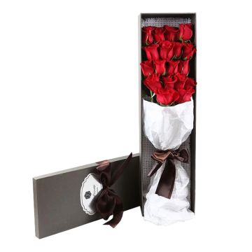 Handmade Long Rectangle Rigid Cardboard Flower Bouquet Delivery