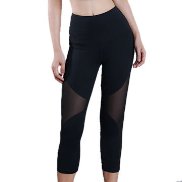 3cac55f0e2e71 China Women's capri pants ladies mesh splicing yoga leggings high waist  female yoga pants ...