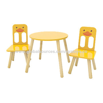China High Quality Preschool Cartoon Duck Painted Wooden Toddler Table And  Chair Set With Best Price ...