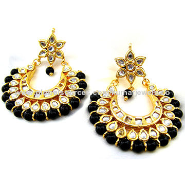 Designer Black Beads Kundan Earrings India