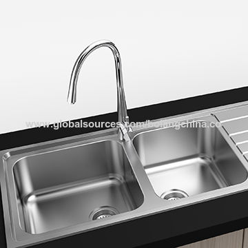 China Stainless Steel Kitchen Sink Welding Style Double Bowl With