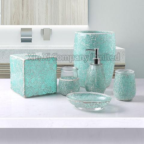Mosaic Tile Bathroom Accessories Set, Modern Bathroom Accessory Sets