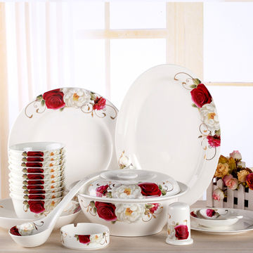 China red rose bone china dinner set : red tableware set - pezcame.com