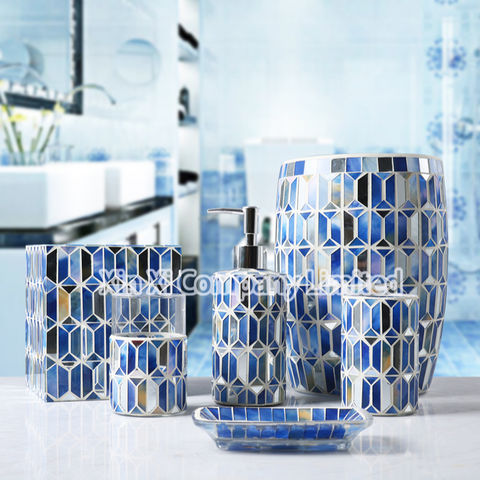 Global Sources Soap Dispenser, Blue And White Bathroom Accessories