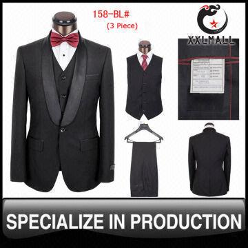 Top Sale 3-pieces Black Men Suits One Button Slim Fit Wedding Suits ...
