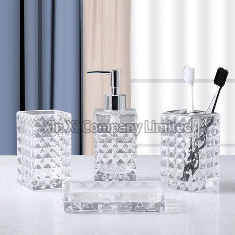 China Diamond Pattern Glass Bathroom, Clear Bathroom Accessories