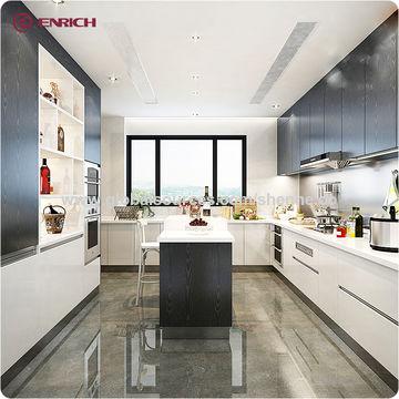 Apartment Modular Kitchen Designs Dish Melamine Overhead Cupboards