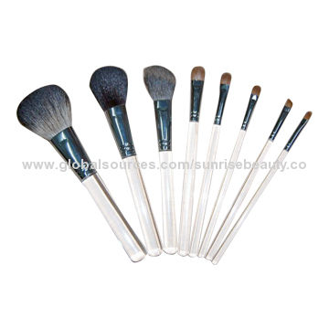 67cd6fb8eac China Makeup Brush Set with 8-piece, Clear Acrylic Handle, Brass Ferrule,