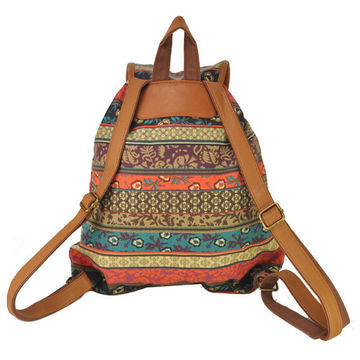 Hong Kong SAR Daypacks, national pattern canvas for leisure purpose, PU shoulder, OEM/ODM orders are welcome