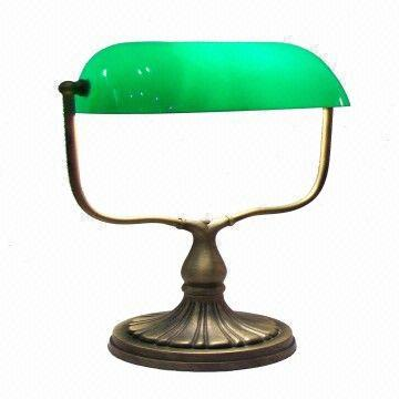 Banker lamp in green glass lamp shade in zinc alloy lamp base banker lamp china banker lamp aloadofball Image collections