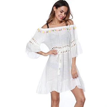 f5ec9b1487 Beach & swimsuit caftans ladies white semi-sheer off shoulder beach dress swim  cover up