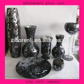 Unbreakable Glass Vase 1lorblack Mosaic 2tall Black Accessories
