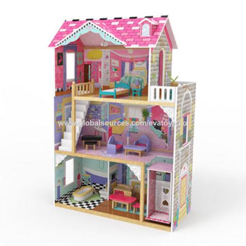 Casa de muñecas en miniatura de madera sólida Caja de almacenamiento de información de lado