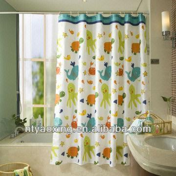 China Yaoxing Bathroom Textile Fabric Polyester Ocean The Turtle And Fish Shower  Curtain