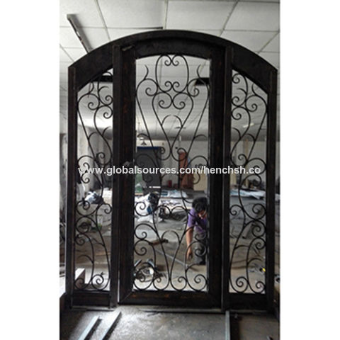 Custom-made Wrought Iron Entry Doors, 74 x 98 Inches, Model Hench-A4 ...